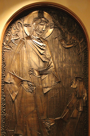 Detail of brass bas-relief sculpture by Virgil Cantini, which is the centerpiece of the Columbarium at Shadyside Presbyterian Church