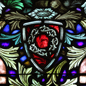 """Crown of Thorns, detail of """"Easter Morn"""" art glass window in Shadyside Presbyterian Church. Photograph by Ellen L. Allston."""