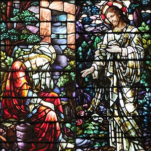 "Mary Magdalene at the Tomb with the Risen Christ, detail of ""Easter Morn"" art glass window in Shadyside Presbyterian Church. Photograph by Ellen L. Allston."