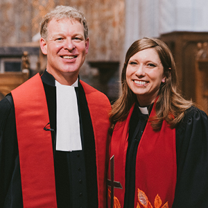 The Reverend Dr. Edwin van Driel, Directors' Bicentennial Associate Professor of Theology at Pittsburgh Theological Seminary, and the Reverend Kendra Buckwalter Smith, Worship Coordinator at Pittsburgh Theological Seminary (Photo by Christopher Ruth)