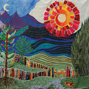 This six-foot banner at the denominational offices in Louisville was created to illustrate the Peacemaking Offering for World Communion Sunday on October 5, 1997. This design was originally drawn in oil pastels by Dorothea B. Kennedy and was translated into fabric by Gloiela Yau Dolak. As the mountains and hills rejoice, the thirsty of all nations are invited to come to the water; the hungry are invited to come to the table. Everyone is welcome.