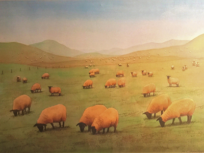 Sheep May Safely Graze: Immediately outside the Columbarium hangs a pastoral scene, painted by the late John Haughwout, which references the image of God as a shepherd caring for His sheep.
