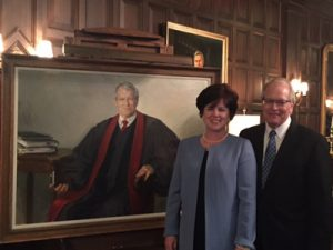 Lauren and Conrad Sharps at the unveiling of artist Jason Bouldin's portrait of Dr. Sharps