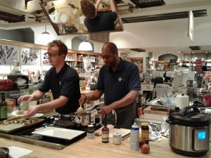 Elder Randy Adams and Chef Steven Bright lead a cooking demonstration at Williams Sonoma in Shadyside on November 18, 2017. Photograph taken by Elder Carla Gedman.