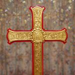 Detail of the cross located on the Communion table in the Chancel of the Shadyside Presbyterian Church Sanctuary.