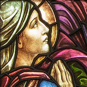 "Detail of ""The Great Commission"" art glass window in the south transept of the Shadyside Presbyterian Church Sanctuary. Window designed by the Gorham Company of New York, 1920. Photograph taken by Len Levasseur."