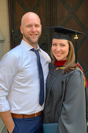 Above: Rebecca Reeder, with her husband Zachary, celebrates her commencement from Pittsburgh Theological Seminary.
