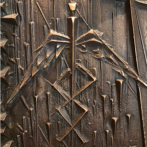 Detail of a caduceus in the 1968 bronze bas-relief by Virgil Cantini at Shadyside Presbyterian Church. Dedicated to Shadyside physician W.D. Richards, the artwork depicts the woman who touched the hem of Christ's garment and was healed (Luke 8:43-48).