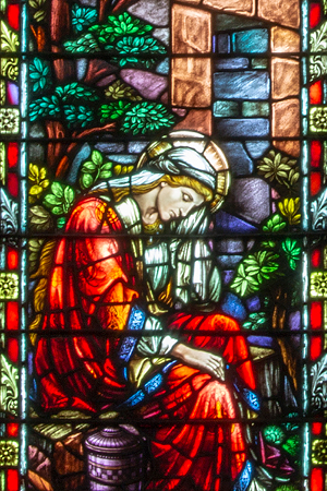 """Mary Magdalene at the Tomb of the Risen Christ, detail of """"Easter Morn"""" art glass window in Shadyside Presbyterian Church. Photograph by Len Levasseur."""